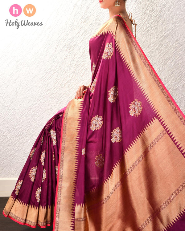 Byzantium Purple Banarasi Sona-Rupa Buta Alfi Kadhuan Brocade Handwoven Katan Silk Saree with Brocade Blouse Piece - HolyWeaves