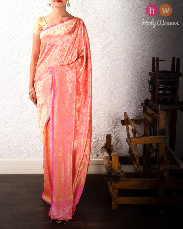 Light Coral Pink Banarasi Patola Cutwork Brocade Handwoven Katan Silk Saree - HolyWeaves