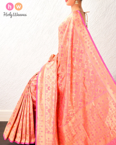 Light Coral Pink Banarasi Patola Cutwork Brocade Handwoven Katan Silk Saree