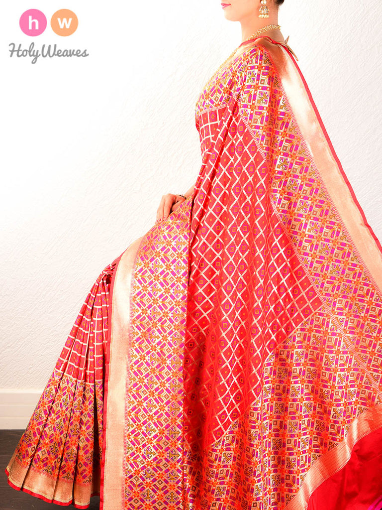 Red Banarasi Jamdani Brocade Handwoven Katan Silk Saree