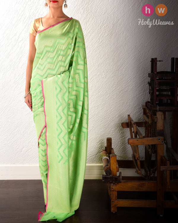 Green Banarasi Cutwork Brocade Handwoven Cotton Silk Saree- HolyWeaves