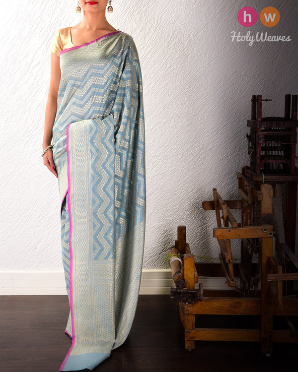 Grey Banarasi Cutwork Brocade Handwoven Cotton Silk Saree- HolyWeaves