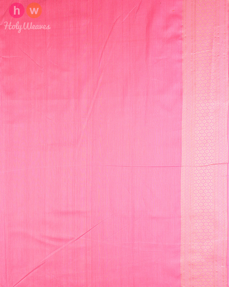 Pink Cutwork Brocade Handwoven Cotton Silk Saree - HolyWeaves