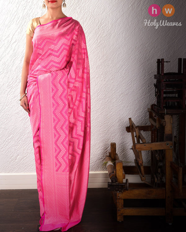 Rani Pink Cutwork Brocade Handwoven Cotton Silk Saree- HolyWeaves