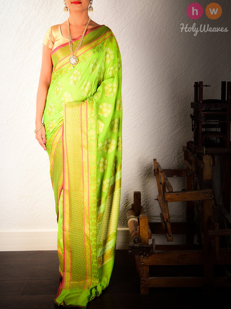 Green Cutwork Brocade Woven Art Silk Saree - HolyWeaves