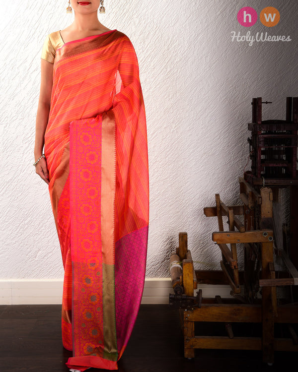 Red Striped Woven Cotton Silk Saree with Brocade Border Pallu- HolyWeaves