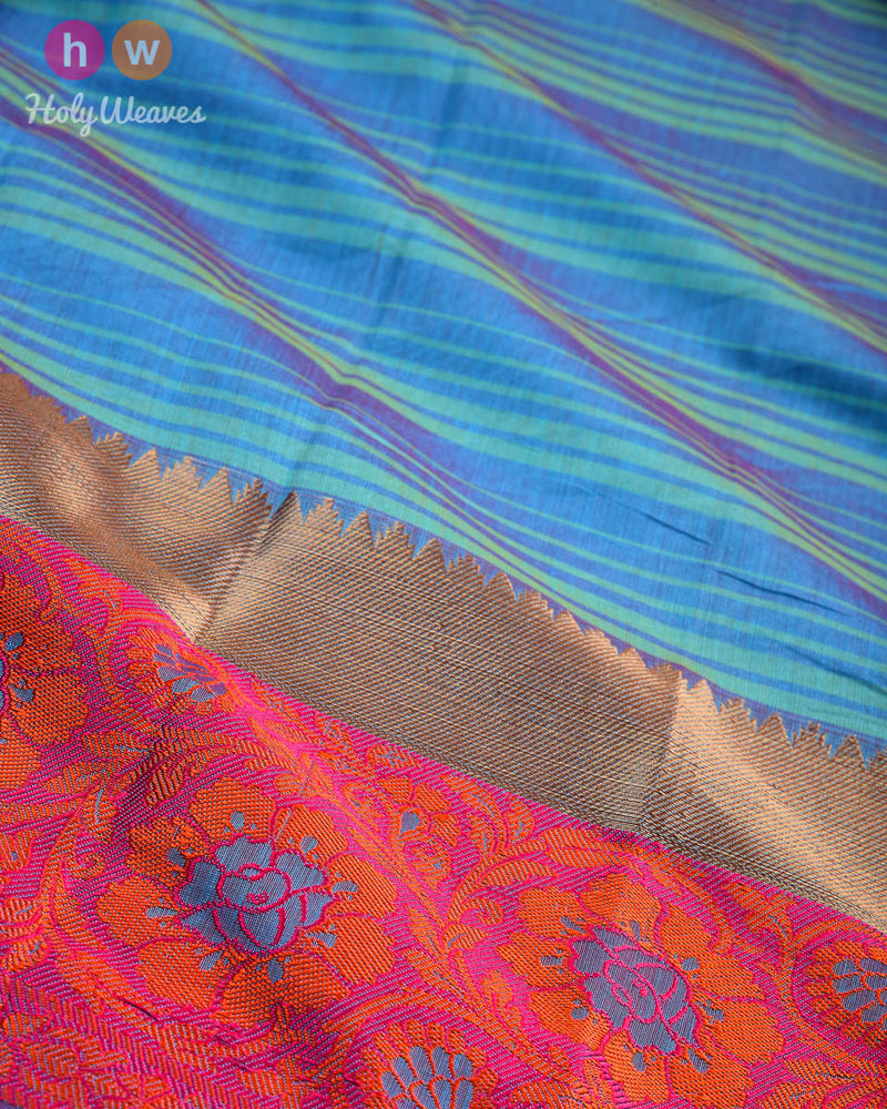 Blue Striped Woven Cotton Silk Saree with Brocade Border Pallu- HolyWeaves