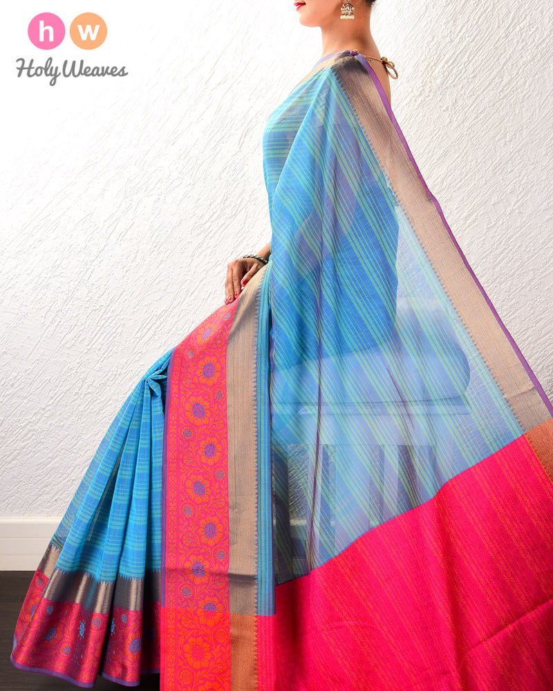 Blue Striped Woven Cotton Silk Saree with Brocade Border Pallu - HolyWeaves