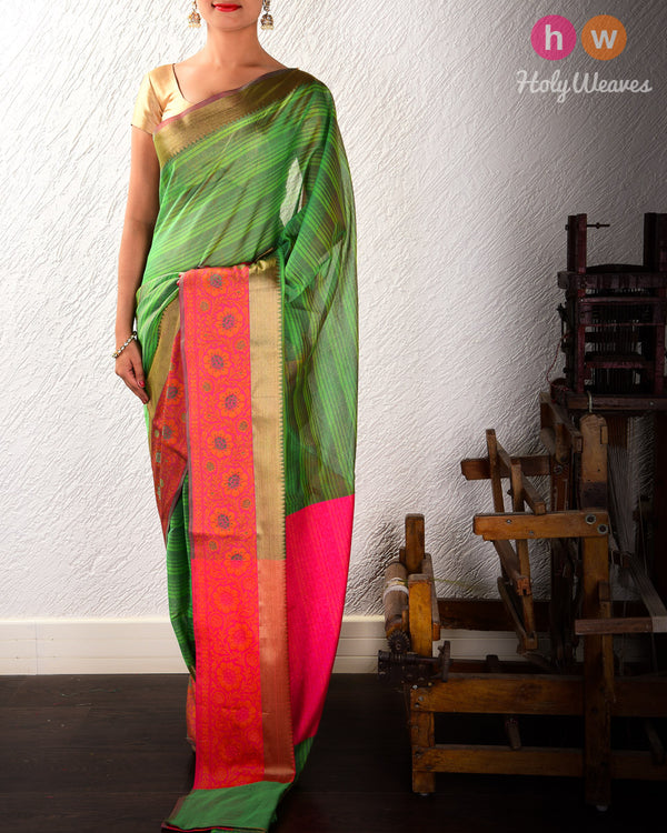 Green Striped Woven Cotton Silk Saree with Brocade Border Pallu- HolyWeaves