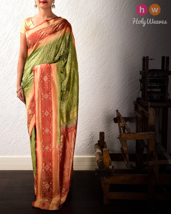 Olive Green Alfi Sona-Rupa Cutwork Brocade Handwoven Katan Silk Saree with Contrast Border Pallu