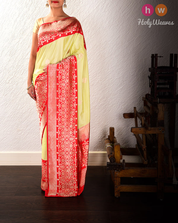 Tea Green Banarasi Kadhuan Brocade Handwoven Katan Silk Saree with Red Kadiyal Border Pallu