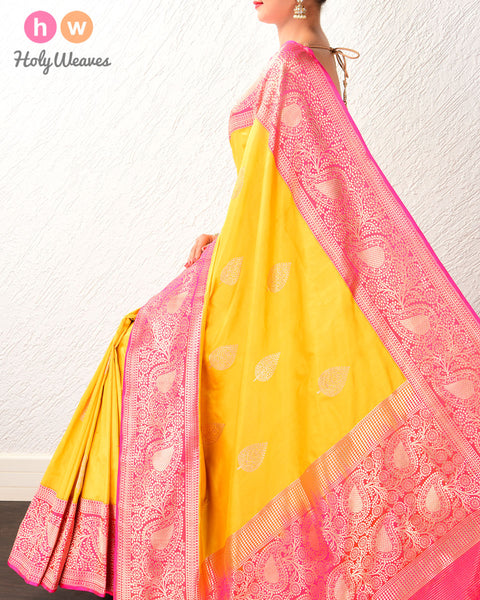 Golden Yellow Kadhuan Brocade Handwoven Katan Silk Saree with Kadiyal Contrast Borders