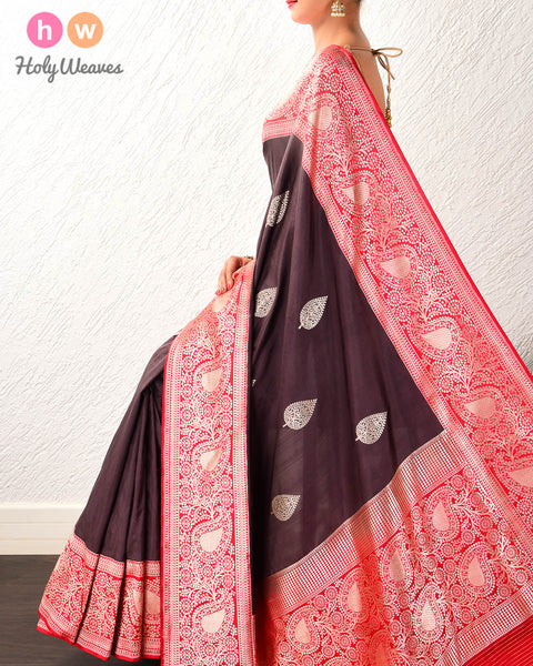 Black Coffee Brown Banarasi Buta Kadhuan Brocade Handwoven Katan Silk Saree with Kadiyal Contrast Borders