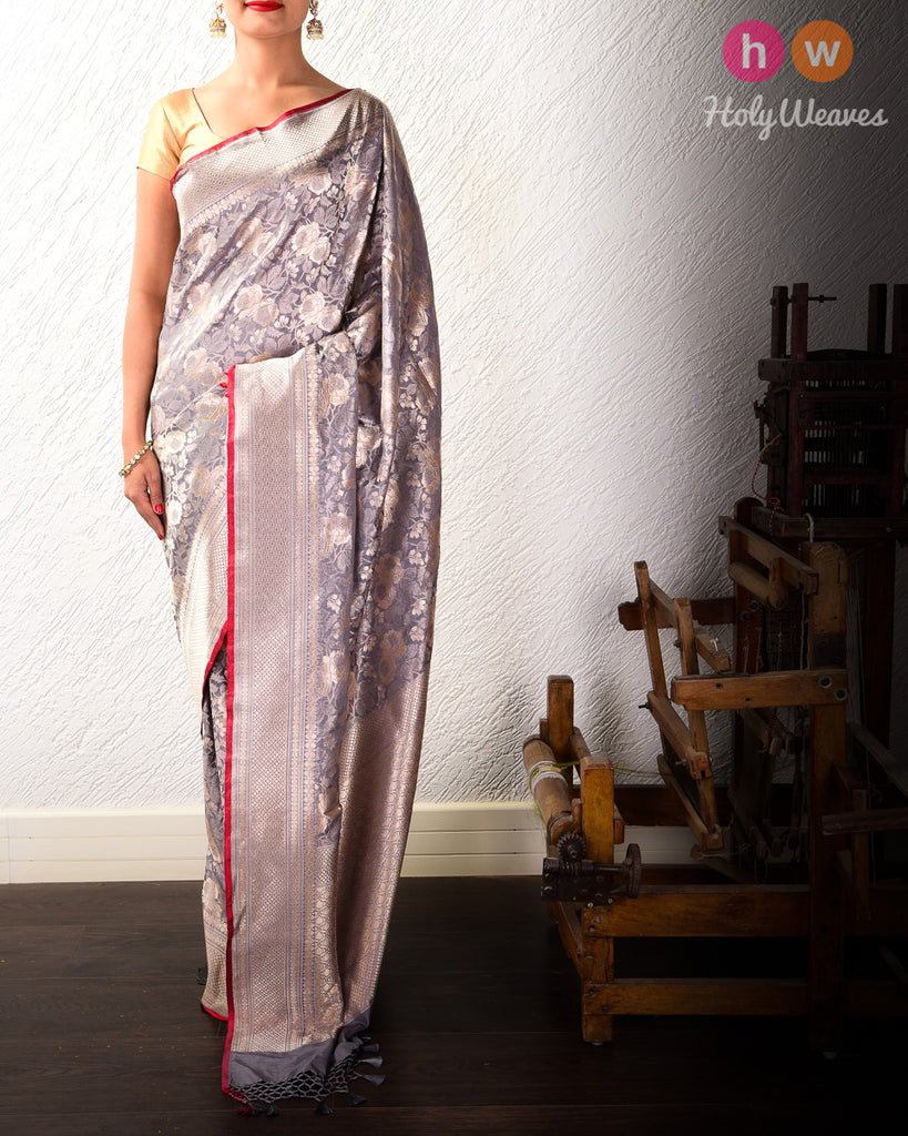 Nickel Gray Cutwork Brocade Handwoven Katan Silk Saree with Maroon Selvage