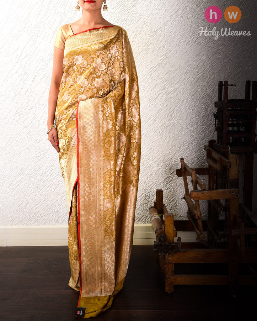 Trombone Yellow Gulab Jaal Cutwork Brocade Handwoven Katan Silk Saree with Maroon Selvage