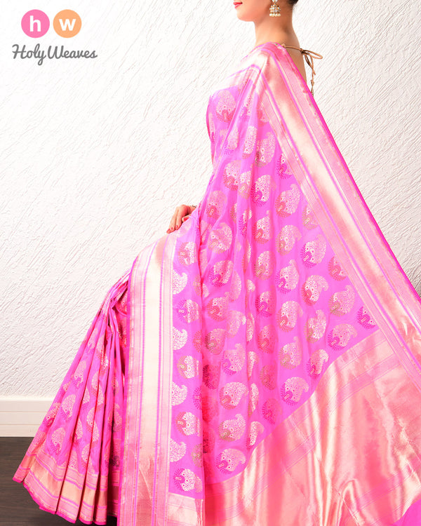 Creamy Pink Alfi Cutwork Brocade Handwoven Katan Silk Saree with Meenedar Paisleys- HolyWeaves