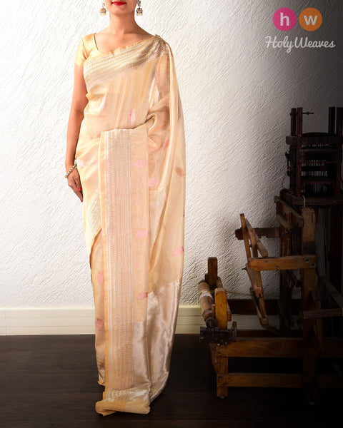 Golden Beige Kadhuan Brocade Handwoven Kora Tissue Saree