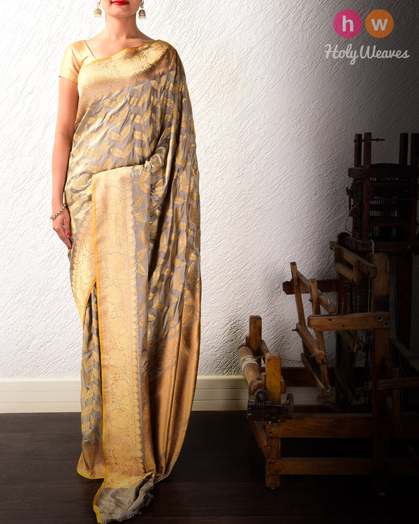 Gray Alfi Meena Buti Cutwork Brocade Handwoven Katan Silk Saree - HolyWeaves