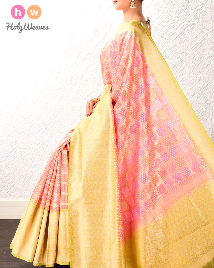 Pink Banarsi Checks & Dots Alfi Cutwork Brocade Handwoven Kora Tissue Saree