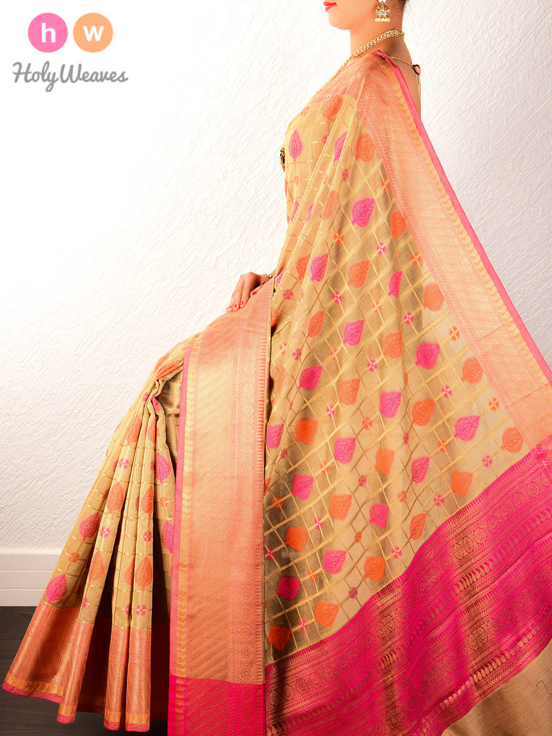 Beige Banarasi Chequered Buta Cutwork Brocade Woven Art Cotton Silk Saree - HolyWeaves
