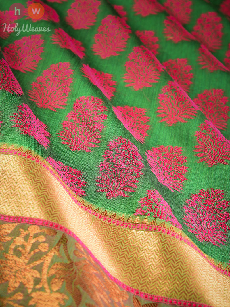 Green Cutwork Brocade Woven Art Cotton Silk Saree - HolyWeaves