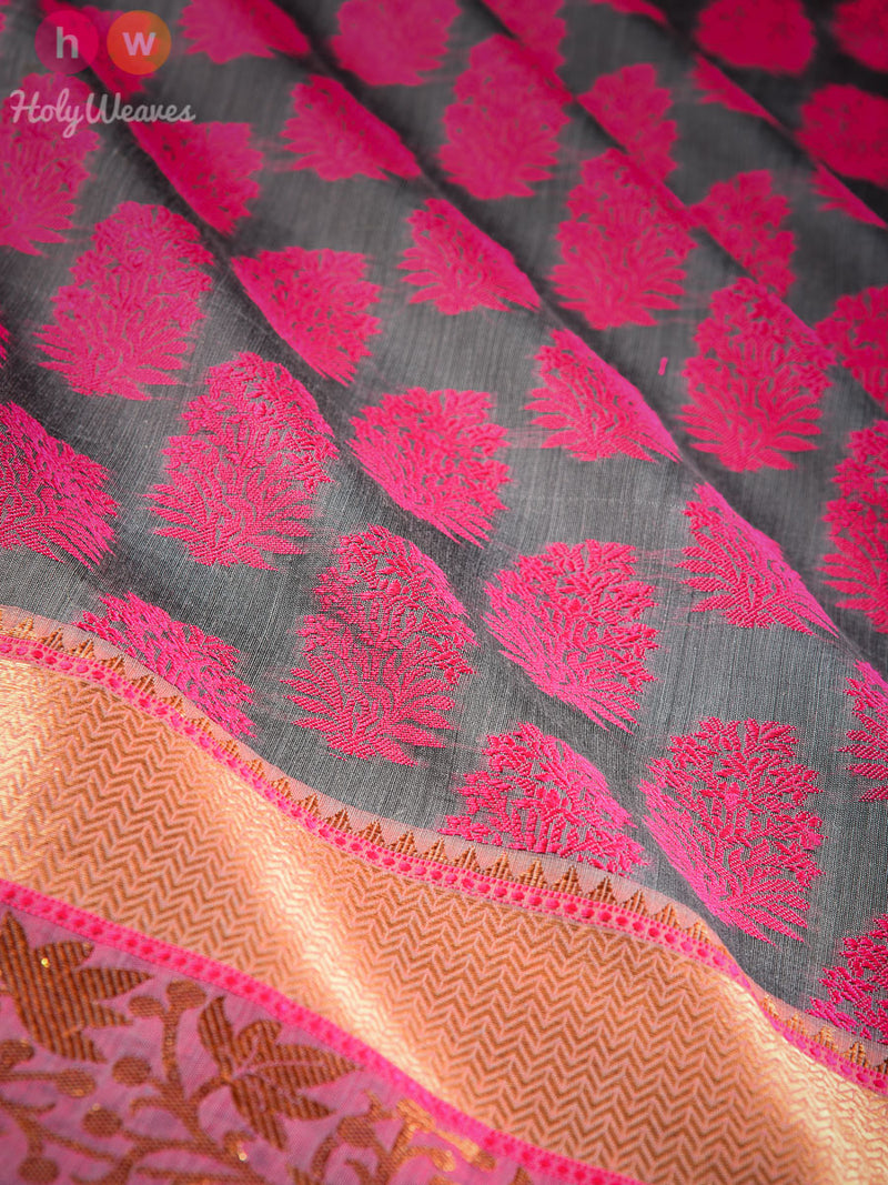 Grey Cutwork Brocade Woven Art Cotton Silk Saree - HolyWeaves