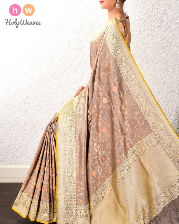 Stone Gray Alfi Antique & Silver Zari Kadhuan Brocade Handwoven Katan Silk Saree