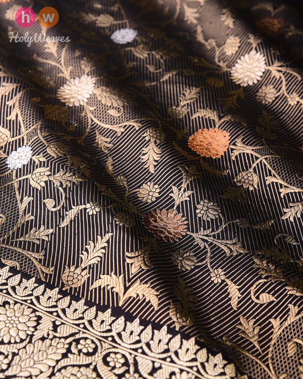 Black Alfi Antique & Silver Zari Kadhuan Brocade Handwoven Katan Silk Saree- HolyWeaves