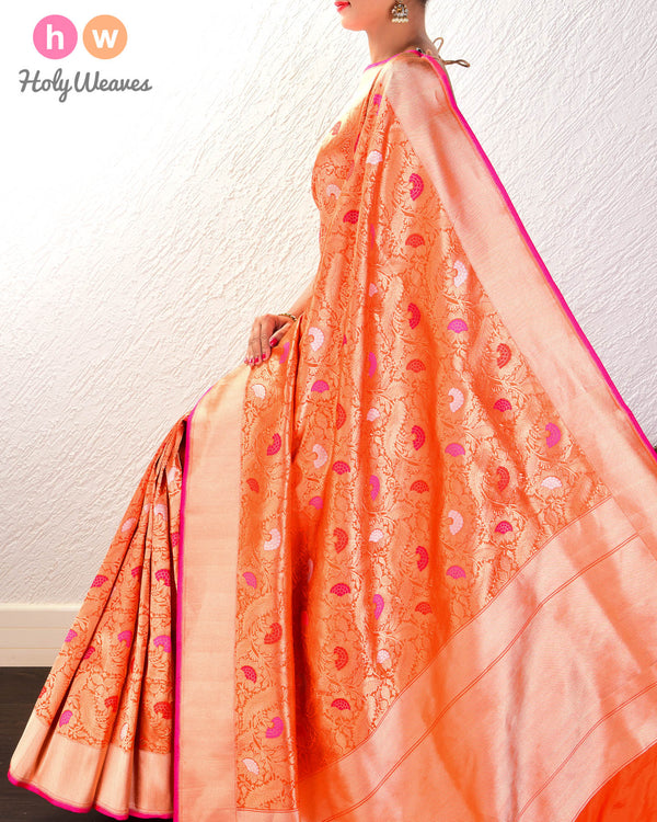 Orange Meendedar Jaal Alfi Antique & Silver Zari Kadhuan Brocade Handwoven Katan Silk Saree- HolyWeaves