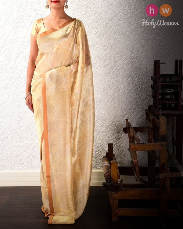 Golden Beige Banarasi Alfi Antique & Gold Zari Cutwork Brocade Handwoven Kora Tissue Saree- HolyWeaves