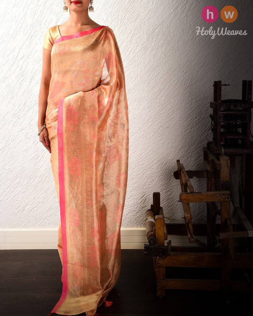 Apricot Peach Banarasi Alfi Antique & Gold Zari Cutwork Brocade Handwoven Kora Tissue Saree