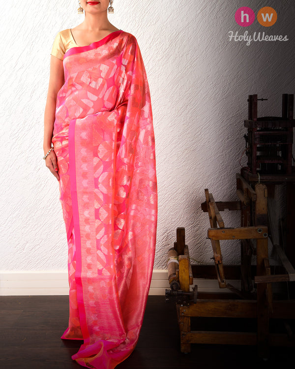 Peach Banarasi Geometric Jaal Alfi Cutwork Brocade Handwoven Kora Silk Saree- HolyWeaves