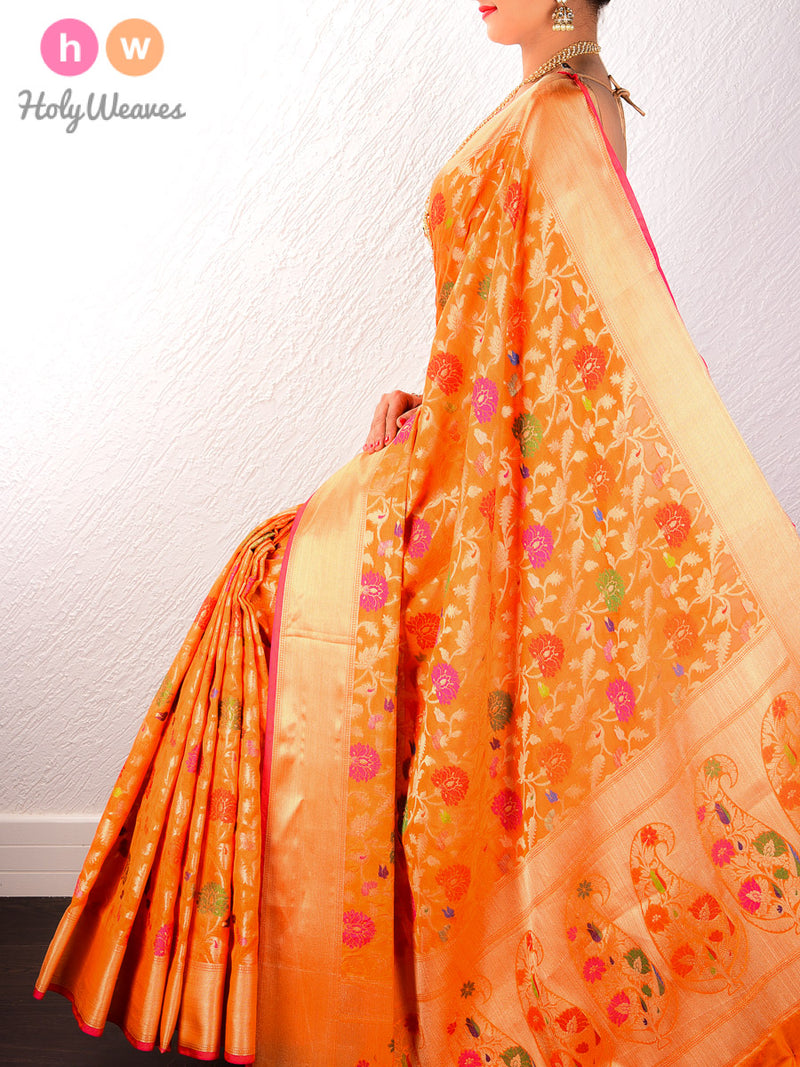 Orange Cutwork Brocade Woven Art Cotton Silk Saree - HolyWeaves