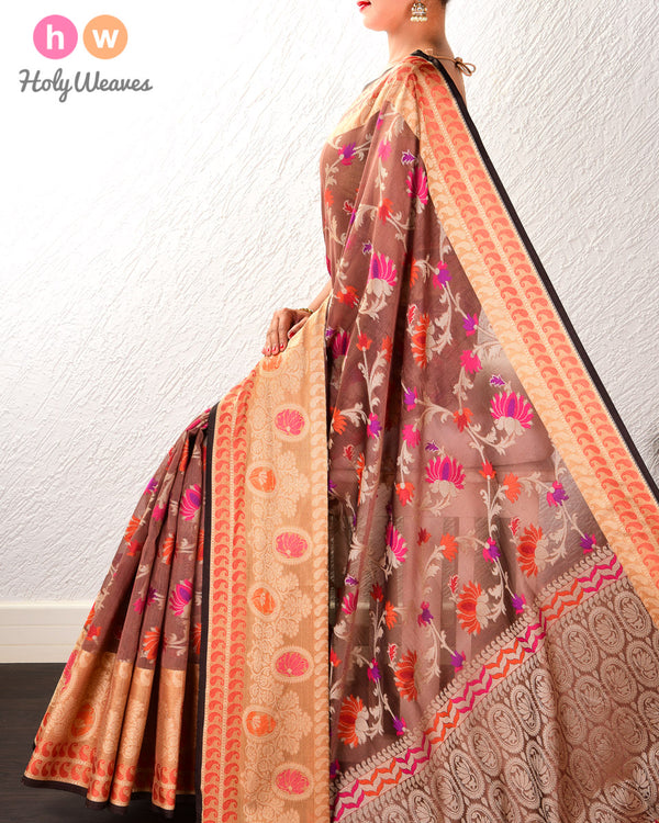Tuscan Brown Kamal Jaal Cutwork Brocade Woven Cotton Silk Saree with Brocade Border - HolyWeaves