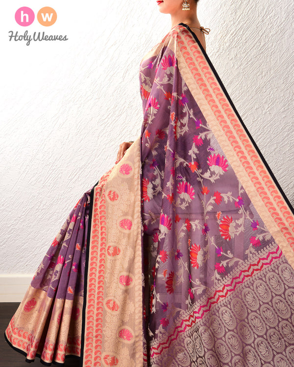 French Lilac Kamal Jaal Cutwork Brocade Woven Cotton Silk Saree with Tissue Border- HolyWeaves