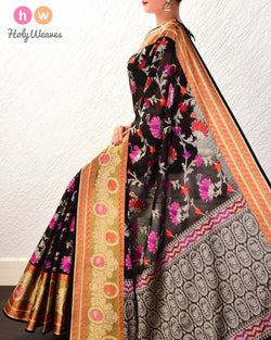 Black Kamal Jaal Cutwork Brocade Woven Cotton Silk Saree with Tissue Border- HolyWeaves