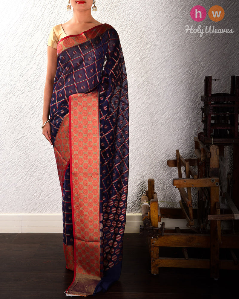 Navy Blue Zebra Checks Cutwork Brocade Woven Cotton Silk Saree with Tissue Border- HolyWeaves