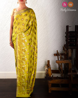 Moss Green Antique Gulab Buta Cutwork Brocade Woven Cotton Silk Saree- HolyWeaves