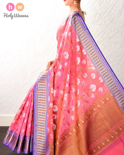 Light Coral Pink Antique and Silver Jaal Cutwork Brocade Woven Cotton Silk Saree- HolyWeaves