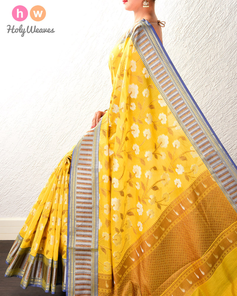 Mellow Yellow Antique and Silver Jaal Cutwork Brocade Woven Cotton Silk Saree- HolyWeaves