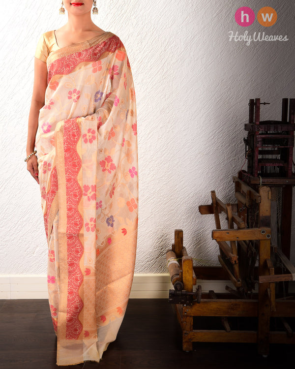Almond White Dotted Floral Jaal Cutwork Brocade Woven Cotton Silk Saree- HolyWeaves