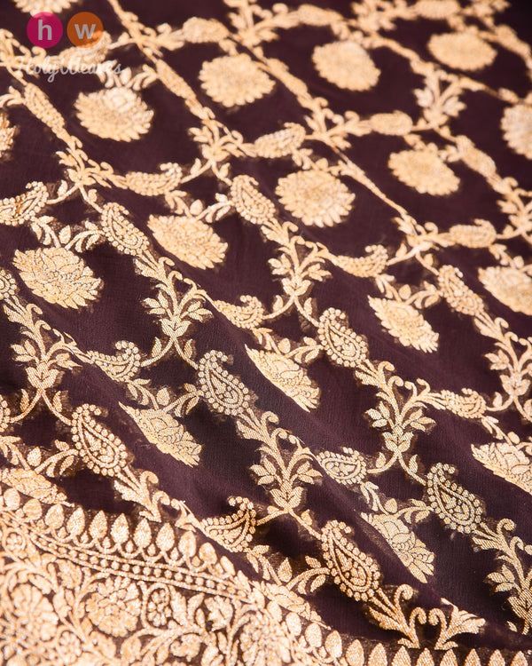 Black Coffee Brown Banarasi Jangla Cutwork Brocade Handwoven Khaddi Georgette Dupatta- HolyWeaves