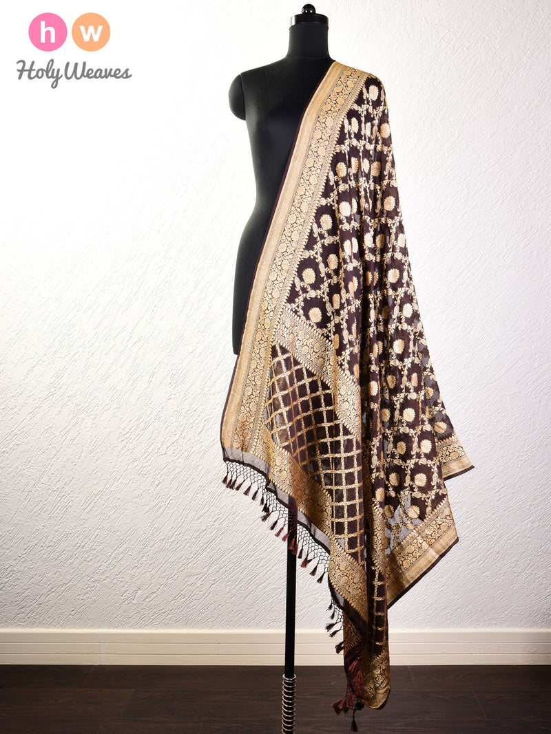 Black Coffee Brown Banarasi Jangla Cutwork Brocade Handwoven Khaddi Georgette Dupatta - HolyWeaves
