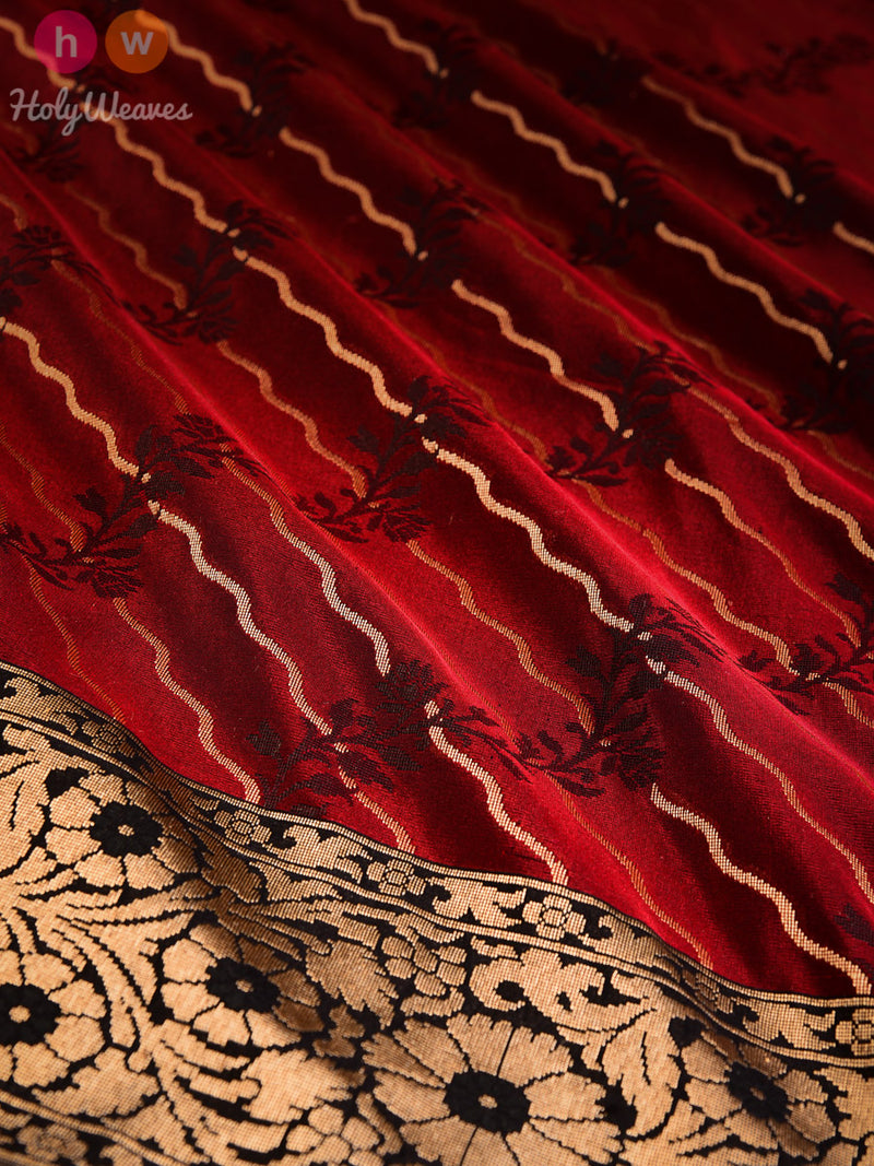 Maroon Banarasi Leheriya Cutwork Brocade Woven Art Silk Saree - HolyWeaves