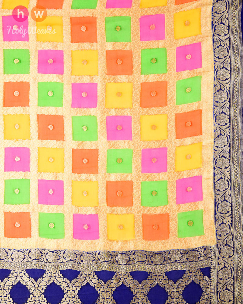 Multi-color Banarasi Hand-brush Color Block Cutwork Brocade Handwoven Khaddi Georgette Dupatta