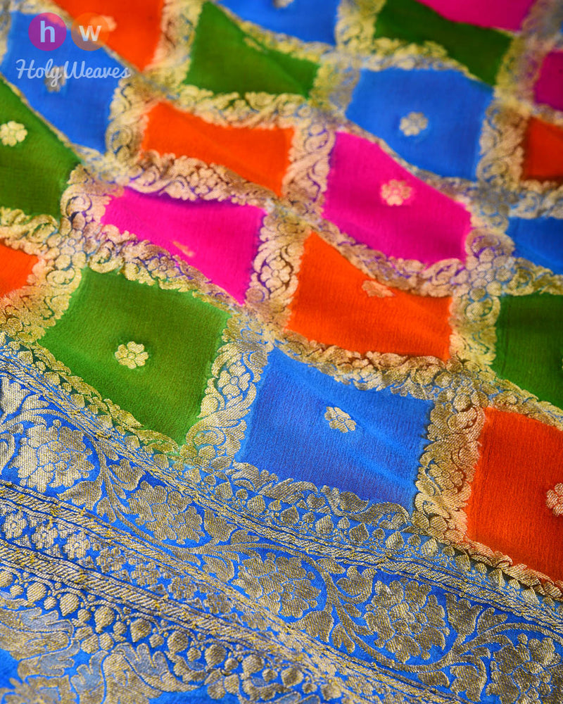 Multi-color Banarasi Hand-brush Color Block Cutwork Brocade Handwoven Khaddi Georgette Dupatta - HolyWeaves