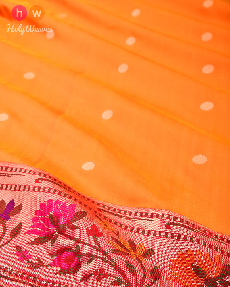 Orange Banarasi Paithani Brocade Handwoven Katan Silk Saree - HolyWeaves