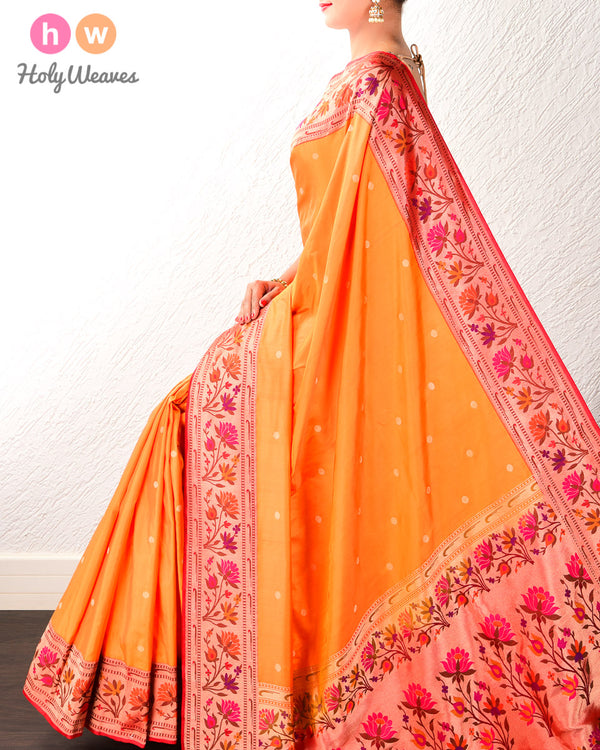 Orange Banarasi Paithani Brocade Handwoven Katan Silk Saree- HolyWeaves