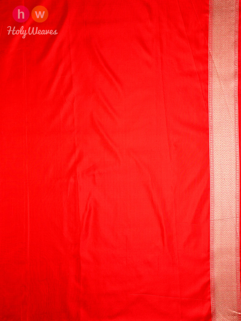Red Banarasi Shikargah Cutwork Brocade Handwoven Katan Silk Saree- HolyWeaves