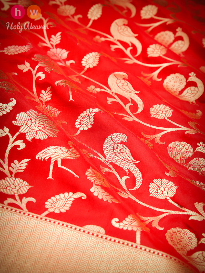 Red Banarasi Shikargah Cutwork Brocade Handwoven Katan Silk Saree - HolyWeaves